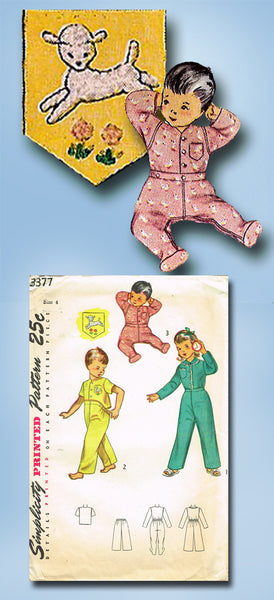 1950s Vintage Simplicity Sewing Pattern 3377 Toddler's Two Piece Pajamas Size 4