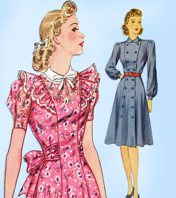 1940s Vintage Simplicity Sewing Pattern 3383 Easy Misses WWII Dress Size 32 Bust - Vintage4me2