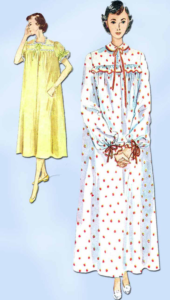 1950s Vintage Simplicity Sewing Pattern 3388 Uncut Misses Nightgown Size 14 32B