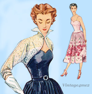 1950s Vintage Simplicity Sewing Pattern 8392 Misses Cocktail Dress Size 16 34B