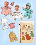 1950s Vintage Simplicity Sewing Pattern 3406 Cute 12in Baby Doll Clothes ORIG