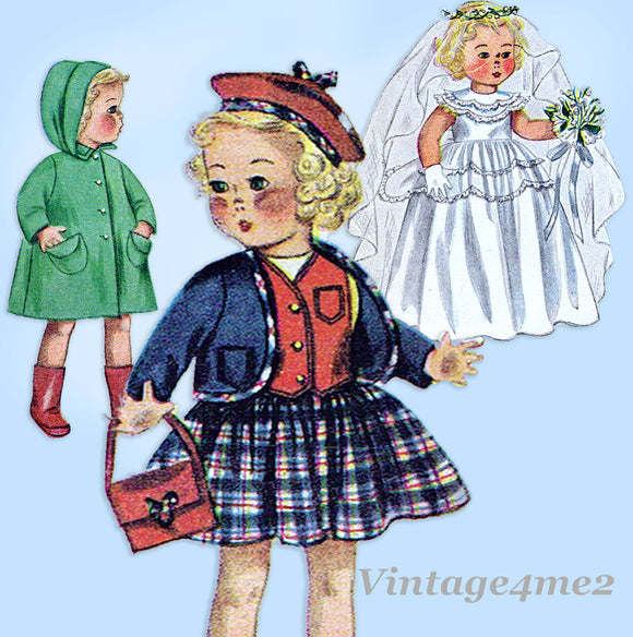 1950s Vintage Simplicity Sewing Pattern 3407 20 Inch Bridal Doll Clothes Set