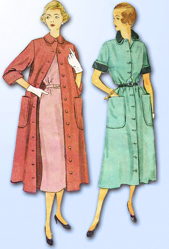 1950s Vintage Simplicity Sewing Pattern 3409 Mises Dress or Duster Size 14 32B