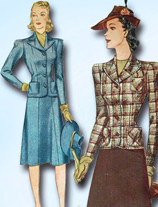 1940s Vintage Simplicity Sewing Pattern 3476 Stylish WWII Misses Suit Size 30 B