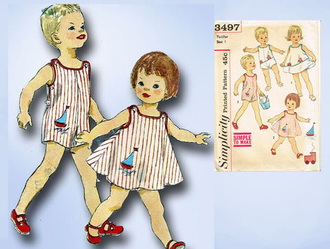 1960s Vintage Simplicity Sewing Pattern 3497 Baby Boys Girls Romper Dress Size 1