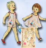 1960s Vintage Simplicity Sewing Pattern 3497 Baby Boys Girls Romper Dress Size 2