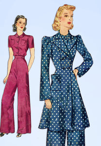 1930s Vintage Simplicity Sewing Pattern 3504 Misses Pajama Set w Housecoat 30 B