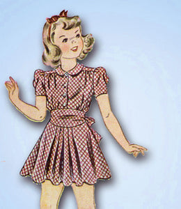 1940s Vintage Simplicity Sewing Pattern 3546 Toddler Girls WWII Dress Size 4 23B