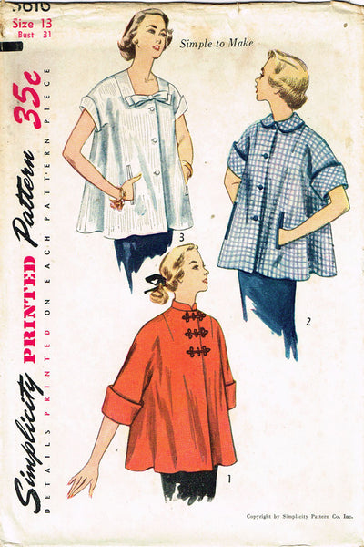 1950s Vintage Simplicity Sewing Pattern 3616 Uncut Misses Maternity Jacket 31B