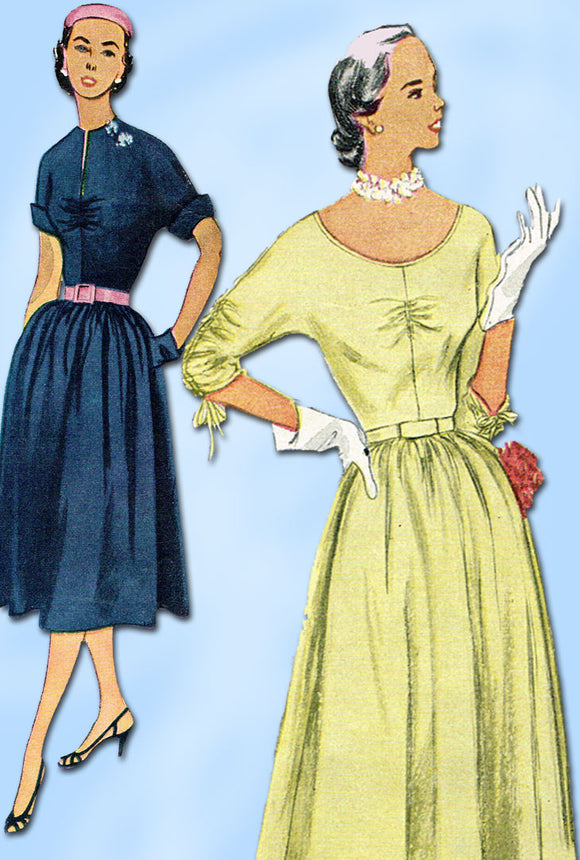 1950s Vintage Simplicity Sewing Pattern 3633 Misses Street Dress Size 12 30B