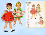 1960s Vintage Simplicity Sewing Pattern 3649 Cute Baby Girls Dress & Apron Sz 2