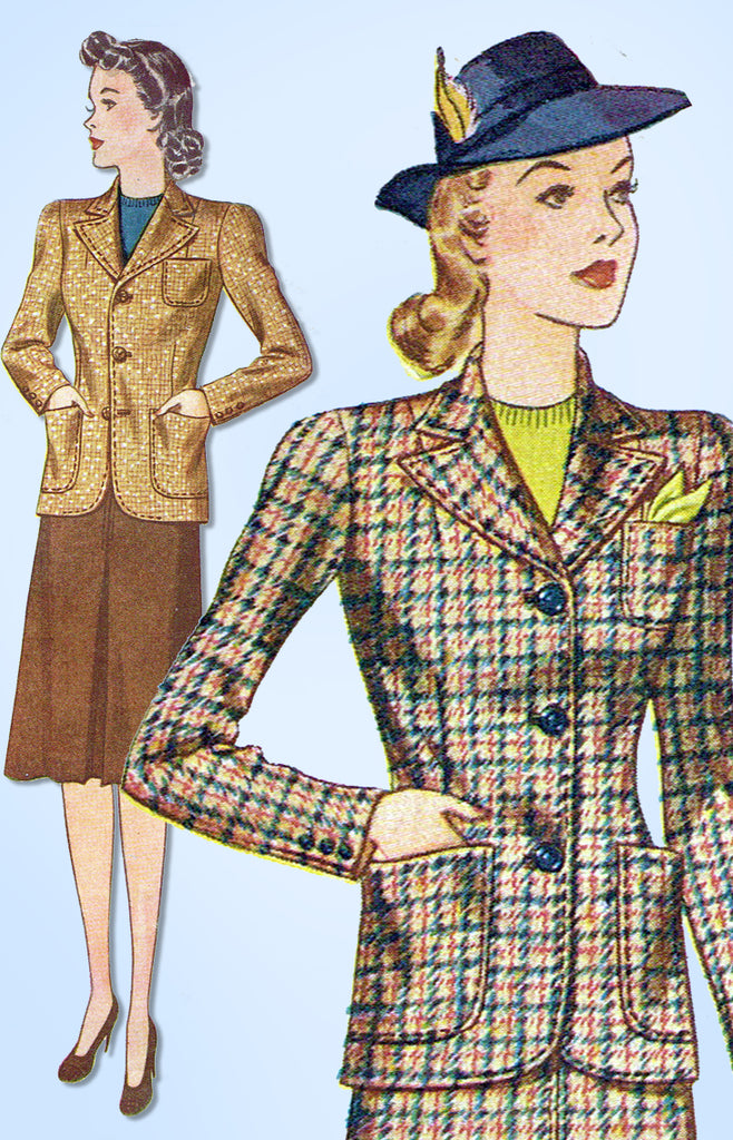 1940s Original Vintage Simplicity Pattern 3652 WWII Misses Tailored Suit Sz 34 B