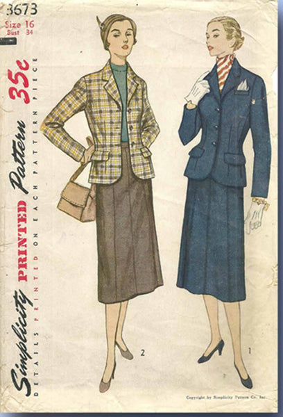 1950s Vintage Simplicity Sewing Pattern 3673 Misses Tailored Suit Size 16 34 B
