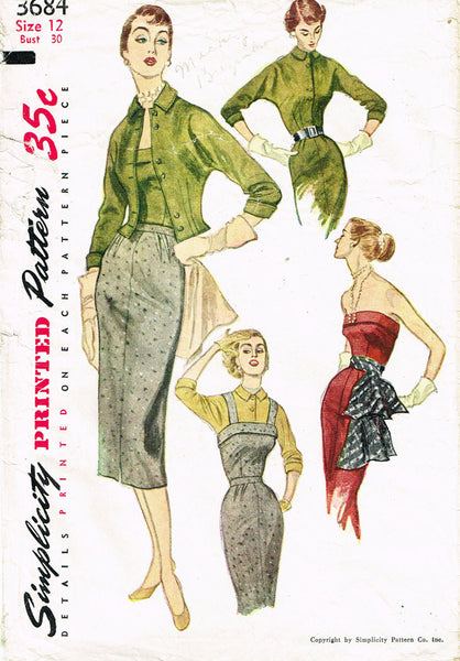 1950s Vintage Simplicity Sewing Pattern 3684 Misses Camisole Top and Skirt Sz 12