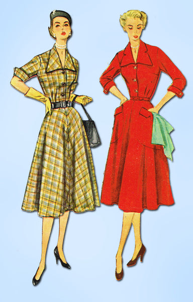 1950s Vintage Simplicity Sewing Pattern 3691 Uncut Misses Half Size Dress 37B