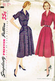 1950s Vintage Simplicity Sewing Pattern 3707 FF Misses Shirtwaist Dress Size 33B