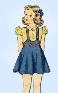 1940s Vintage Simplicity Sewing Pattern 3724 WWII Toddler Girls Bolero Suit Sz 2
