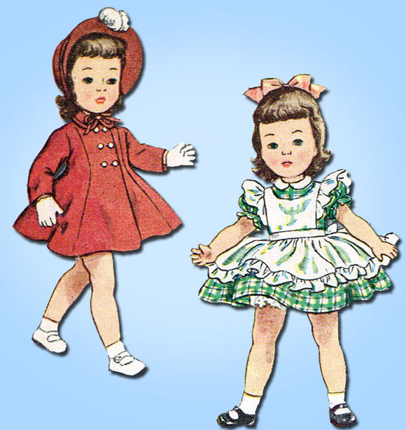 1950s Vintage Simplicity Sewing Pattern 3728 Toni Doll Clothes Size 16 Inch Doll