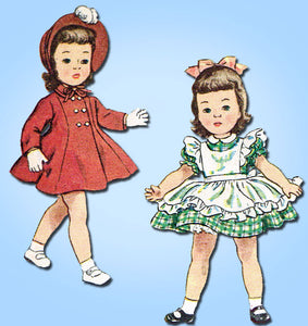 1950s Vintage Simplicity Sewing Pattern 3728 14 Inch Toni Doll Clothes Set -Vintage4me2
