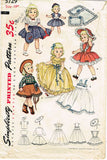1950s Vintage Simplicity Sewing Pattern 3729 19 Inch Toni Doll Clothes Set