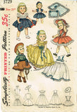 1950s Vintage Simplicity Sewing Pattern 3729 21 Inch Toni Doll Clothes ORIGINAL -Vintage4me2