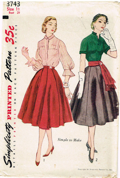 1950s Vintage Simplicity Sewing Pattern 3743 Uncut Misses Skirt and Blouse Sz 11