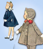 1950s Vintage Simplicity Sewing Pattern 3754 Toddler's Flared Coat and Hat Sz 3