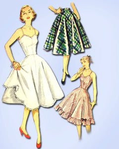 1950s Vintage Simplicity Sewing Pattern 3766 Misses Slip and Petticoat 30B
