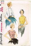 1950s Vintage Simplicity Sewing Pattern 3771 Uncut Misses Blouse Set Size 12 30B