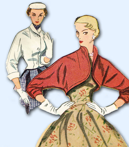 1950s Vintage Simplicity Sewing Pattern 3790 Easy Misses Bolero Jacket Size 32 B