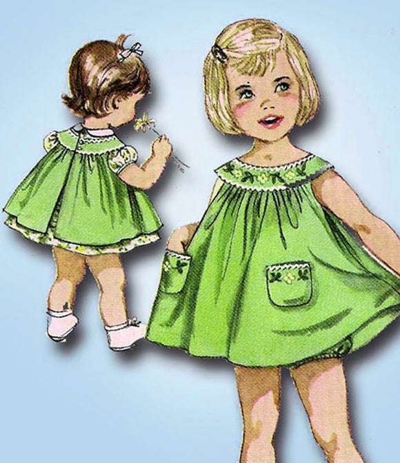 1960s Vintage Simplicity Sewing Pattern 3807 Baby Girls Dress and Pinafore 6 mos