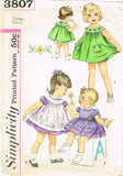 1960s Vintage Simplicity Sewing Pattern 3807 Toddler Girls Dress Pinafore Size 2