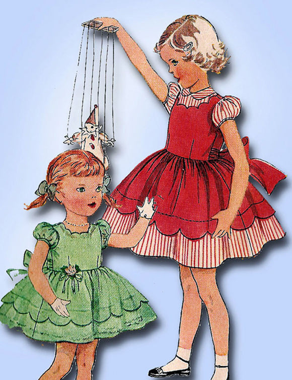 1950s Vintage Toddler Girls Party Dress Uncut Simplicity Sewing Pattern 3808 Sz6
