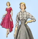 1950s Vintage Simplicity Sewing Pattern 3812 Misses Dress and Bolero Size 11 29B