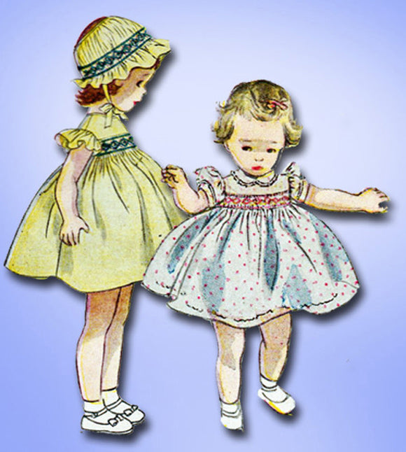 1950s Vintage Simplicity Sewing Pattern 3833 FF Toddler Girls Smocked Dress Sz 3