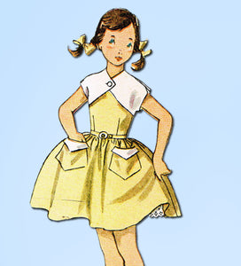 1950s Vintage Simplicity Sewing Pattern 3835 Girls Sun Dress & Bolero Size 10