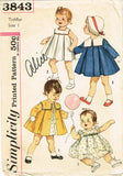 1950s Vintage Simplicity Sewing Pattern 3843 Baby Girls Dress Coat Size 1