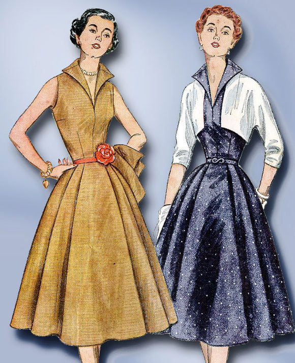 1950s Vintage Misses' Cocktail Dress FF 1952 Simplicity Sewing Pattern 3846 Sz14
