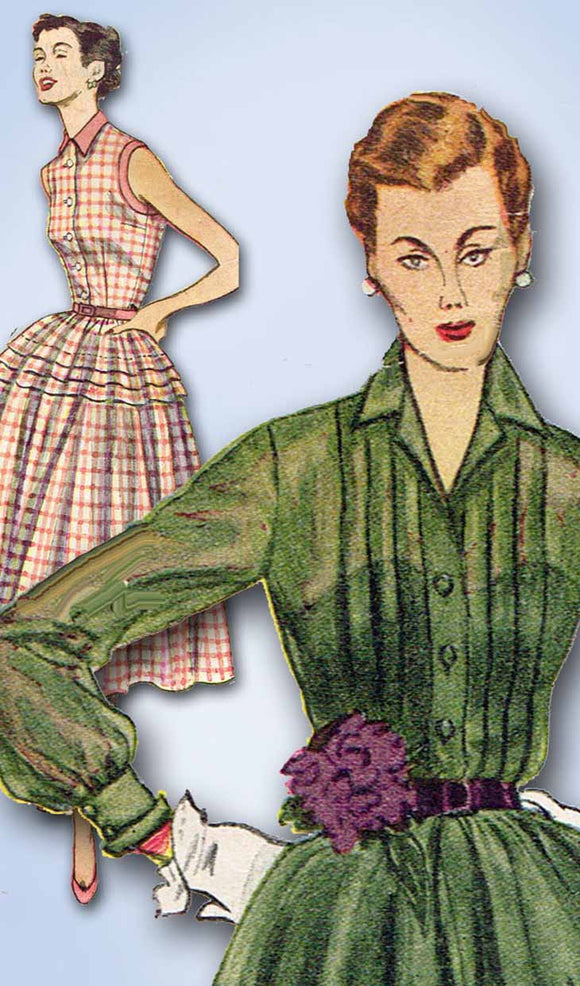 1950s Vintage Simplicity Sewing Pattern 3848 Uncut Misses Shirtwaist Dress Sz 12
