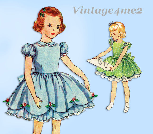1950s Vintage Simplicity Sewing Pattern 3868 Toddler Girls Party Dress Size 2
