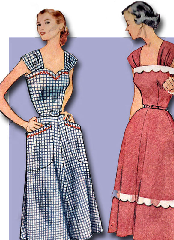 1950s Vintage Simplicity Sewing Pattern 3875 Charming Misses Sun Dress Size 14 32B