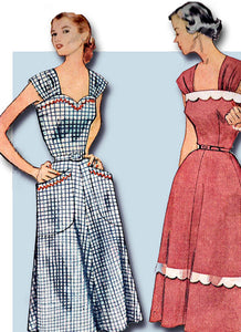 1950s Vintage Plus Size Sun Dress Uncut 1952 Simplicity VTG Sewing Pattern 40 B