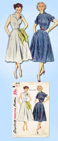 1950s Vintage Simplicity Sewing Pattern 3876 Misses Easy Sun Dress Size 14 32 B