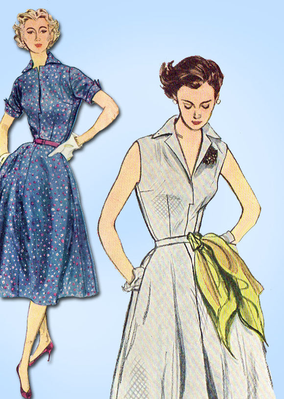 1950s Vintage Simplicity Sewing Pattern 3876 Misses Easy Sun Dress Size 18 36 Bust