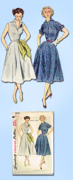 1950s Vintage Simplicity Sewing Pattern 3876 FF Misses Simple Sun Dress Size 16