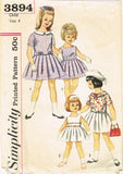 1950s Vintage Simplicity Sewing Pattern 3894 Toddler Girls Sun Dress Size 4 23B
