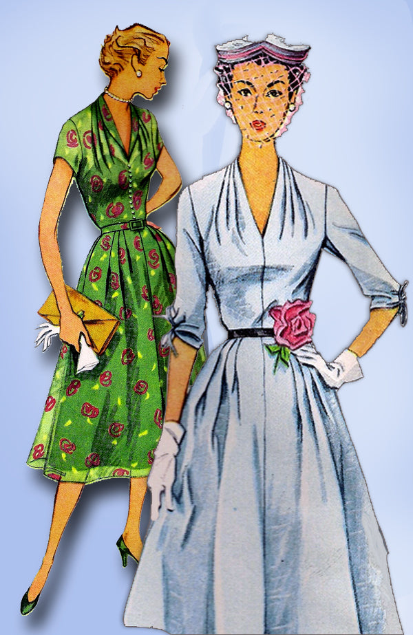 1950s Vintage Simplicity Sewing Pattern 3931 Plus Size Dress 42 Bust