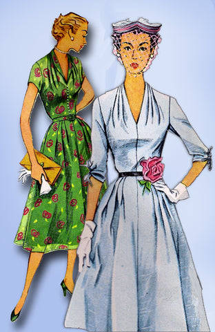 1950s Original Vintage Simplicity Sewing Pattern 3931 Plus Size Dinner Dress 42B