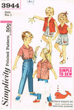 1950s Vintage Simplicity Sewing Pattern 3944 Simple Toddler Playclothes Size 2