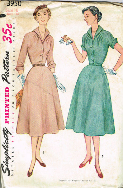 1950s Vintage Simplicity Sewing Pattern 3950 Uncut Misses' Afternoon Dress Sz 16